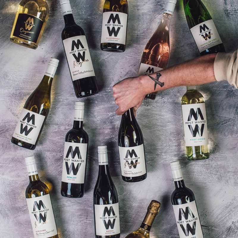 Most Wanted Wines bottles lying down